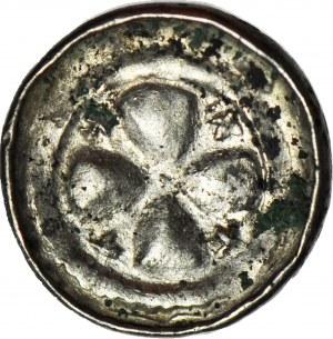 Denar krzyżowy XIw., odmiana z czterema krzyżykami pomiędzy ramionami krzyża
