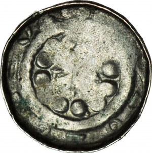 Denar krzyżowy XIw., odmiana z krzyżykami i kulami pomiędzy ramionami krzyża