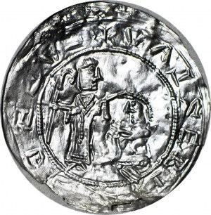 Bolesław III Krzywousty 1107-1138, Brakteat protekcyjny po 1113 r., Kraków, WYŚMIENITY
