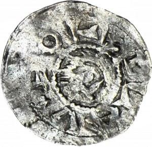 RR-, Bolesław IV Kędzierzawy 1146-1173, Denar, Głowa BOLZLAV/Ptak
