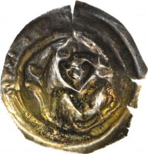 RR-, Mieszko III Stary 1173-1202, Gniezno, Brakteat łaciński, Książę z liściem palmowym, R5