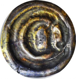 RR-, Polska dzielnicowa, Ziemia Dobrzyńska, Brakteat 1337-1343, gotycka litera D i dwie kule
