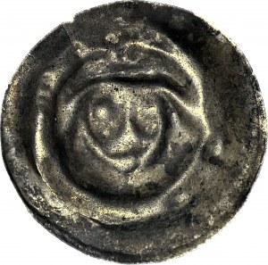 RR-, Brakteat guziczkowy II poł. XIIIw., nieokreślona prowincja, Głowa w czepcu?