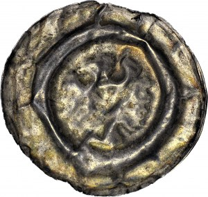 RRR-, Henryk III Biały 1248-1266, SZEROKI brakteat ORZEŁ z legendą hEINRICVS DVX