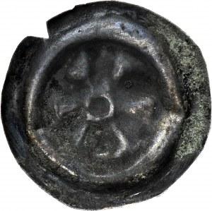 RR-, Dolny Śląsk, Obol lub szeroki brakteat 17,5mm, 2. poł. XIII w., Rozeta lub kwiat 6-listny