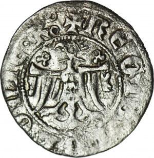 RR-, Kazimierz III Wielki 1333-1370, Kwartnik duży (Półgrosz) Kraków, rozetki KOKARDKI, niesymetryczny tron skrzyniowy