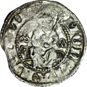 RR-, Kazimierz III Wielki 1333-1370, Kwartnik duży (Półgrosz) Kraków, potrójne pierścienie, symetryczny tron skrzyniowy