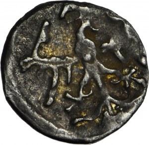 RR-, Władysław Jagiełło, 1386-1434, Denar, kółko ma koronie, lilia, krzyżyk, NIENOTOWANY