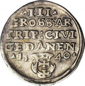 R-, Zygmunt I Stary, Trojak 1540 Gdańsk, portret w czepcu