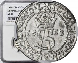 Zygmunt II August, Trojak 1563, Wilno, menniczy
