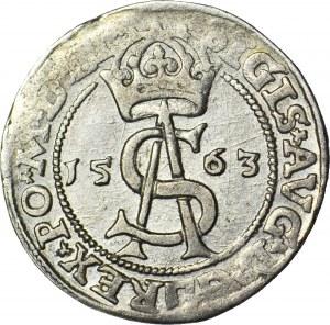 Zygmunt II August, Trojak 1563, Wilno, korona przedziela napis, z DG, piękny