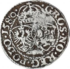 RRR-, Stefan Batory, Grosz Olkusz 1580, herb Glaubicz, T.40 mk, R7