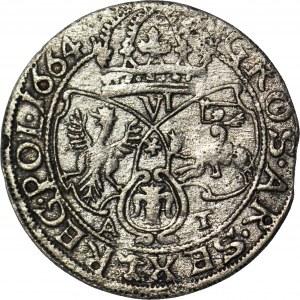 RR-, Jan Kazimierz, Szóstak 1664 A-T, naśladownictwo w dobrym srebrze