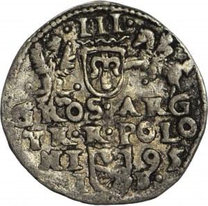 RRR-, Zygmunt III Waza, Trojak 1595, typ olkuski, naśladownictwo w dobrym srebrze