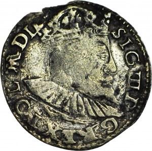 RRR-, Zygmunt III Waza, Trojak 1597, herb Chalecki, naśladownictwo w srebrze