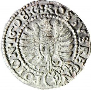 RR-, Zygmunt III Waza, Grosz 1608 portretowy, fałszerstwo lub naśladownictwo z epoki wybite w srebrze