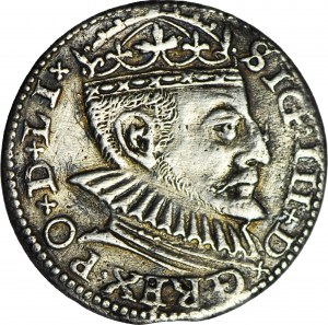 R-, Zygmunt III Waza, Trojak 1590 Ryga, duża głowa, Kop. R4