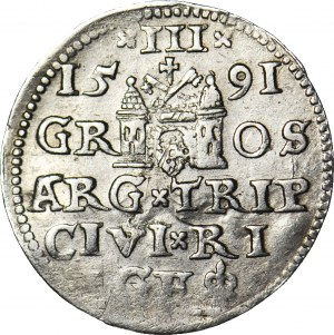 RR-, Zygmunt III Waza, Trojak 1591, Ryga, korona zwieńczona globem z krzyżem, nienotowany