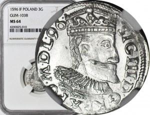 Zygmunt III Waza, Trojak 1596 Wschowa, piękny, data kończy legendę awersu