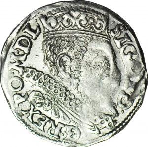 RR-, Zygmunt III Waza, Trojak 1598, Poznań, przebitka daty 1597/1598