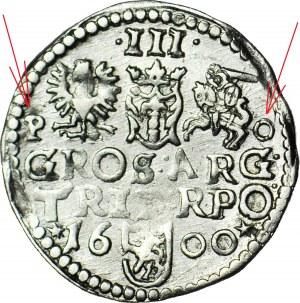 RR-, Zygmunt III Waza, Trojak 1600, Poznań, literki P-O obok herbów, b. rzadkie