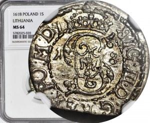 Zygmunt III Waza, Szeląg 1618, Wilno, bez obwódki na rewersie, menniczy