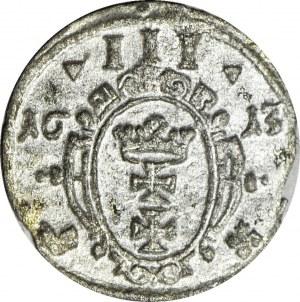R-, Zygmunt III, Ternar 1613, Gdańsk, Tarcza OWALNA, R4