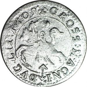 RRR-, Zygmunt III Waza, grosz 1609, Wilno, obwódki na awersie i rewersie R8
