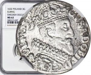R-, Gustaw II Adolf, Trojak 1632, Elbląg, menniczy