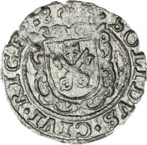 RR-, Stefan Batory, Szeląg Ryga 1586, tarcza prosta