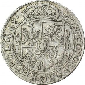 Jan II Kazimierz, Ort 1668, Bydgoszcz, mały krzyżyk po dacie