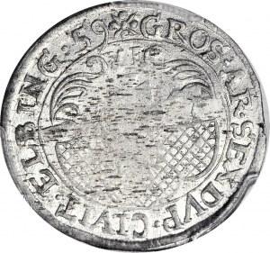 RR-, Karol X Gustaw, Szóstak 1659, Elbląg, duża rozeta