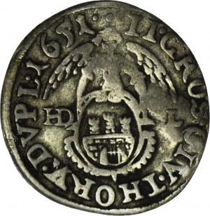 RRR-, Jan Kazimierz, Dwugrosz 1651 Toruń, rzadki