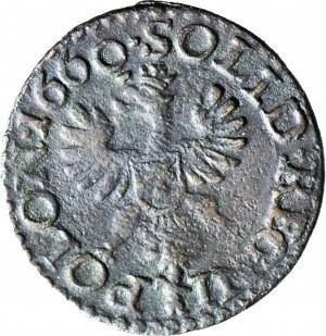RR-, Jan Kazimierz, Szeląg koronny 1660, odwrócona poprzeczka w literze N, Przasnysz 0 sztuk na 17391