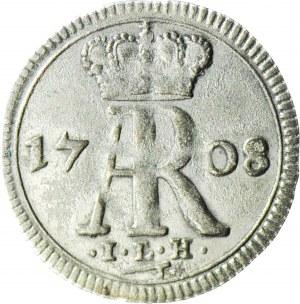 R-, August II Mocny, Ternar (3 halerze) 1708, Drezno, MONOGRAM AR