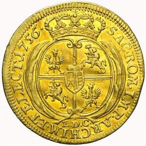 R-, August III Sas, Dukat 1756, Lipsk, bardzo ładny