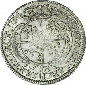 RR-, August III Sas, Ort 1754, Lipsk, bardzo rzadkie popiersie