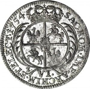 R-, August III Sas, Szóstak 1754, Lipsk, rzadkie popiersie tymfowe