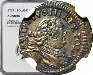 R-, August III Sas, Szeląg 1753, T odwrócone