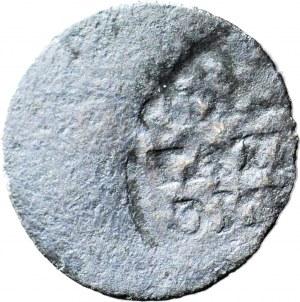 RRR-, August III, Szeląg 1763 Elbląg, destrukt, awers pozytywowy, rewers negatywowy