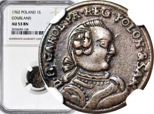 R-, Kurlandia, Karol Krystian Saski, Szeląg 1762, Mitawa, tarcze wygięte