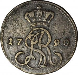 Stanisław A. Poniatowski, Grosz 1790 EB, rzadka odmiana, większa średnica