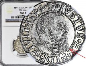 R-, Lenne Prusy Książęce, Albrecht Hohenzollern, Grosz 1544, Królewiec, broda SZEROKA, RZADKI, R3