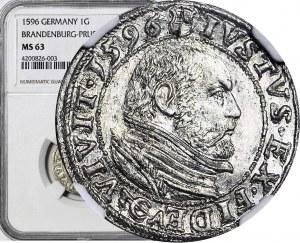 R-, Jerzy Fryderyk von Ansbach, Grosz 1596, Królewiec
