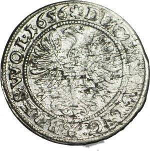 R-, Śląsk, Jerzy III, Ludwik IV i Chrystian, 3 krajcary 1656 Brzeg, bardzo rzadki i nietypowy ornament pod postaciami oraz sześcioramienna rozeta na rewersie