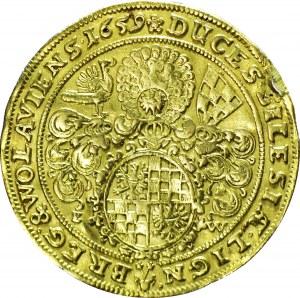 RRR-, Śląsk, Jerzy III, Ludwik IV i Chrystian, 2 dukaty 1659, Brzeg, Hybryda 1653/1659! ekstremalnie rzadkie!