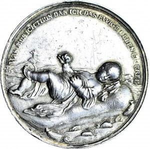 R-, Śląsk, Wrocław, Medal na chrzest ok. 1720, srebro 53 mm, Johann Kittel, rzadki