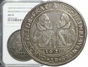 R-, Śląsk, Księstwo Ziębicko-Oleśnickie, Henryk Wacław i Karol Fryderyka, Talar 1620, Oleśnica, rzadki