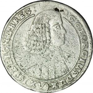 RRR-, Śląsk, Jerzy III Brzeski, 15 krajcarów 1659, Brzeg, tarcza na rewersie; najrzadszy rocznik, nienotowana!