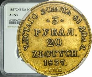 R-, Zabór Rosyjski, Mikołaj I, 20 złotych = 3 ruble 1837, Petersburg